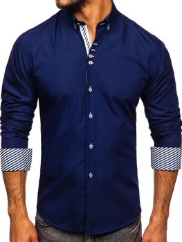 Tmavomodrá pánska elegantná košeľa s dlhými rukávmi Bolf 5796