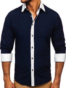 Tmavomodrá pánska elegantná košeľa s dlhými rukávmi Bolf 6882