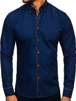 Tmavomodrá pánska elegantná košeľa s dlhými rukávmi Bolf 6964