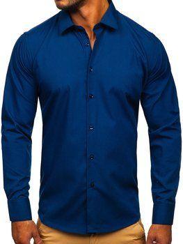 Tmavomodrá pánska elegantná košeľa s dlhými rukávmi Bolf SM16