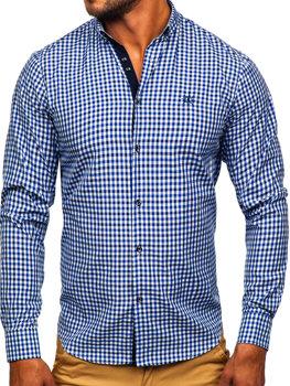 Tmavomodrá pánska károvaná vichy košeľa s dlhými rukávmi BOLF 4712