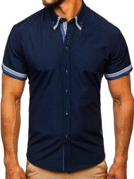 744798e1eb Tmavomodrá pánska košeľa s krátkymi rukávmi BOLF 2911