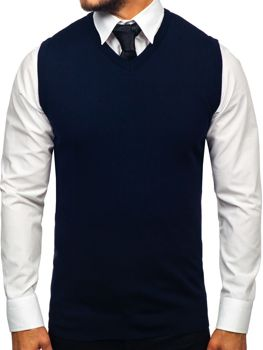 Tmavomodrá pánska pletená vesta Bolf 2500