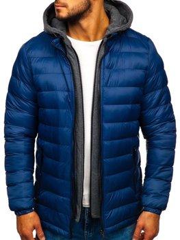 Tmavomodrá pánska prešívaná športová zimná bunda Bolf JP1102