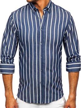 Tmavomodrá pánska pruhovaná košeľa s dlhými rukávmi Bolf 20730