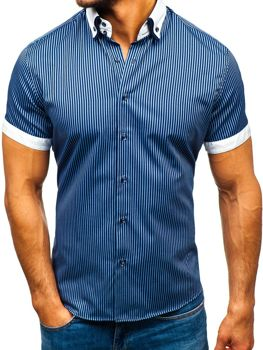 c37069328ee1 Tmavomodrá pánska pruhovaná košeľa s krátkymi rukávmi BOLF 1808