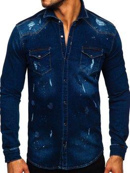Tmavomodrá pánska riflová košeľa s dlhými rukávmi Bolf R801