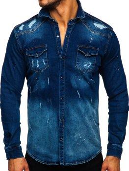 Tmavomodrá pánska riflová košeľa s dlhými rukávmi Bolf R802