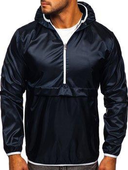 Tmavomodrá pánska športová prechodná bunda s kapucňou Bolf 5061