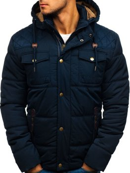 496950b9aeb91 Tmavomodrá pánska zimná bunda BOLF 1665