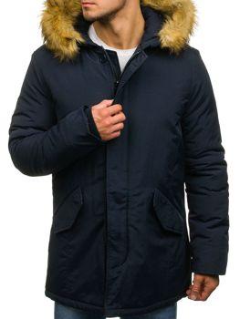 Tmavomodrá pánska zimná bunda parka BOLF YT303
