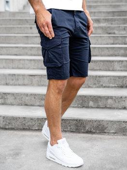 Tmavomodré pánske kapsáčové šortky Bolf DF3053