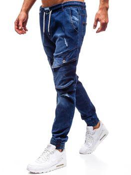 Tmavomodré pánske riflové jogger nohavice BOLF 2048