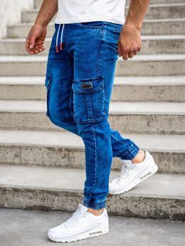 Tmavomodré pánske rifľové kapsáčové joggery Bolf HY688