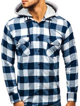 Tmavomodro-biela pánska flanelová košeľa s dlhými rukávmi BOLF 1031