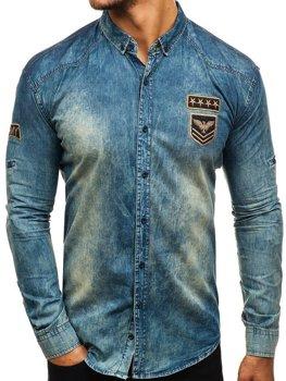 d15e11df4cf0 Tmavomodro-šedá pánska riflová košeľa s dlhými rukávmi BOLF 0992