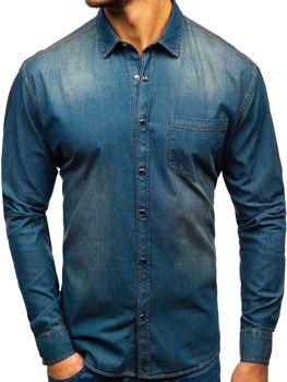Tmavomodro-šedá pánska riflová košeľa s dlhými rukávmi BOLF 1316