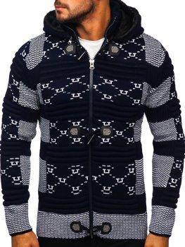 Tmavomodrý hrubý pánsky sveter/bunda so zapínaním na zips s kapucňou Bolf 2059