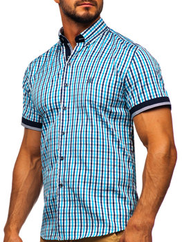 Tyrkysová pánska károvaná košeľa s krátkymi rukávmi BOLF 4510