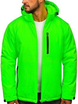 Zelená neónová pánska športová lyžiarská zimná bunda Bolf HH011