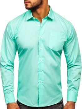 Zelená pánska elegantná košeľa s dlhými rukávmi Bolf 0003