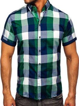Zelená pánska károvaná košeľa s krátkymi rukávmi Bolf 5532
