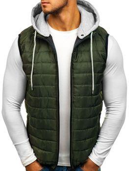 Zelená pánska vesta s kapucňou BOLF AK90