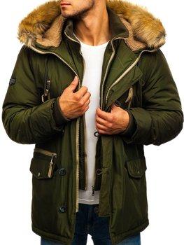 Zelená pánska zimná bunda parka BOLF 1045