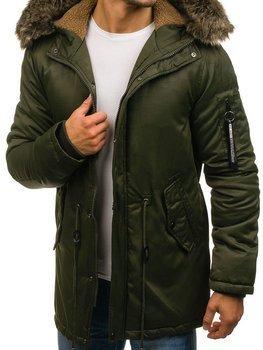 Zelená pánska zimná bunda parka BOLF R52