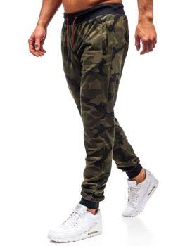Zelené maskáčové pánske teplákové joggery BOLF MK19