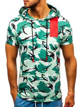 Zelené maskáčové pánske tričko s potlačou BOLF 304
