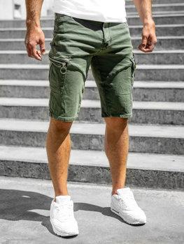 Zelené pánske kapsáčové šortky s opaskom Bolf R88204