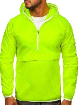 Žltá neónová pánska športová prechodná bunda s kapucňou Bolf 5061