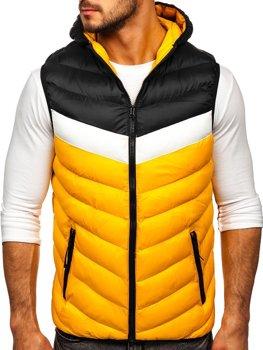 Žltá pánska prešívaná vesta s kapucňou Bolf HDL88004