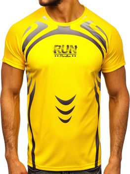 Žlté pánske tričko s potlačou Bolf KS2062