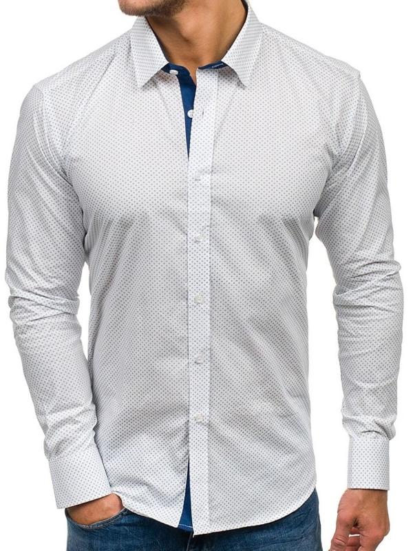 Biela pánska vzorovaná košeľa s dlhými rukávmi BOLF GET1014
