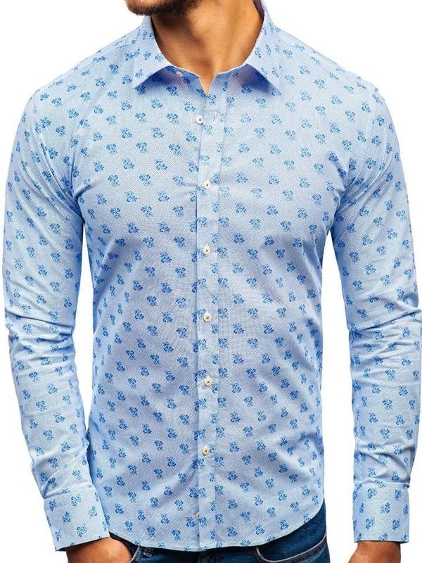 Bielo-modrá pánska vzorovaná košeľa s dlhými rukávmi BOLF 300G36