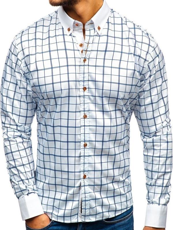 Bielo - tmavomodrá pánska elegantá košeľa s dlhými rukávmi BOLF 8842-1