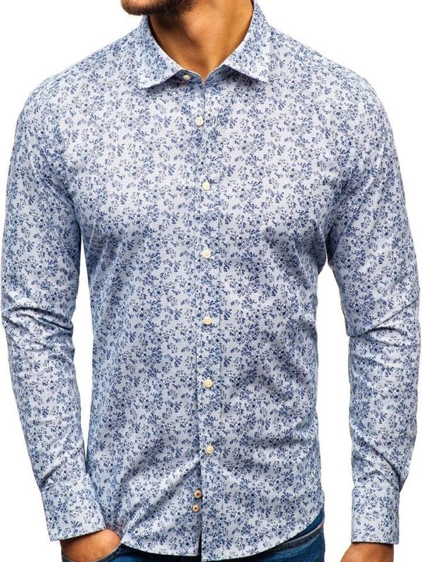 Bielo-tmavomodrá pánska vzorovaná košeľa s dlhými rukávmi BOLF 301G58