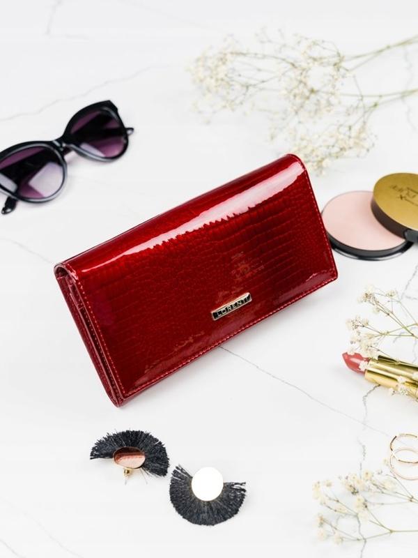Červená dámska kožená peňaženka 2089