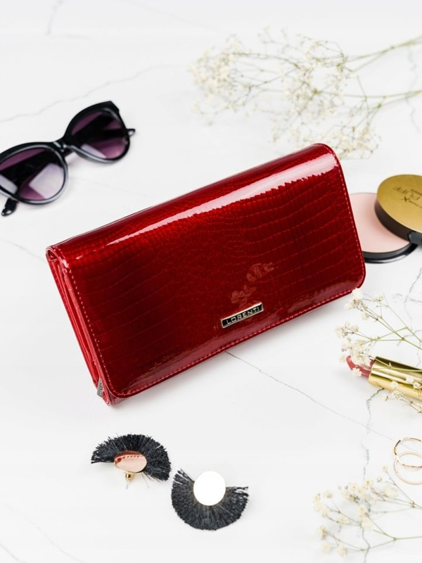 Červená dámska kožená peňaženka 2111