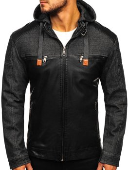 Čierna pánska bunda z ekokože BOLF EX361
