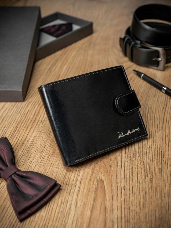 Čierna pánska kožená peňaženka 1695