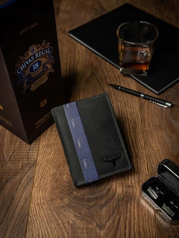 Čierna pánska kožená peňaženka 2229