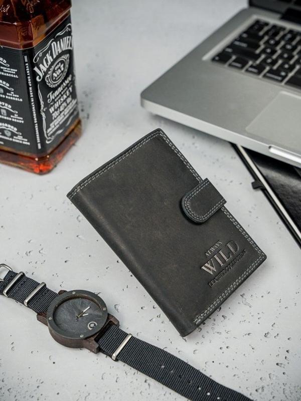 Čierna pánska kožená peňaženka  3173