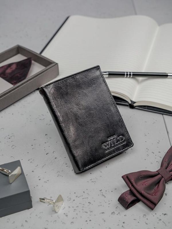Čierna pánska kožená peňaženka 3195