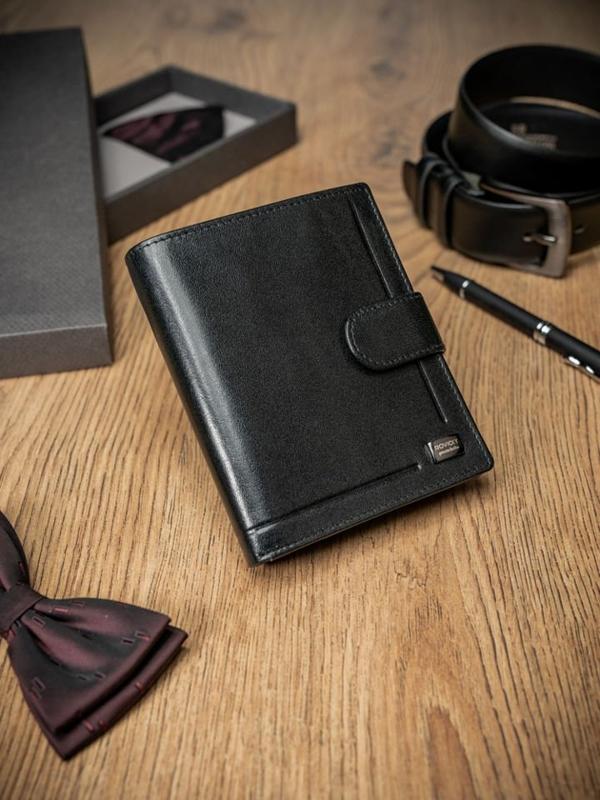 Čierna pánska kožená  peňaženka 411