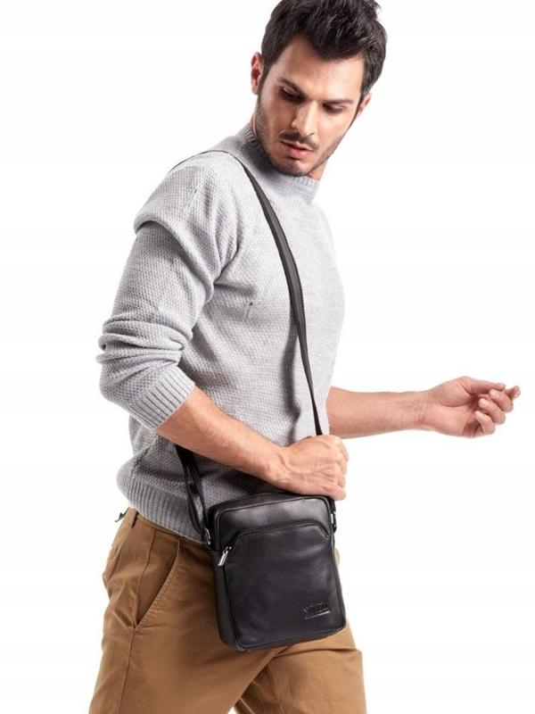 Čierna pánska kožená taška 3017