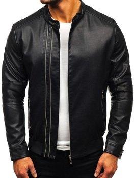 Čierna pánska koženková bunda BOLF 1073