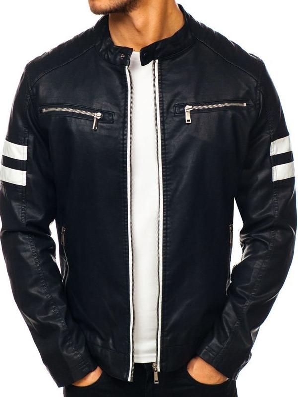 Čierna pánska koženková bunda BOLF 1075